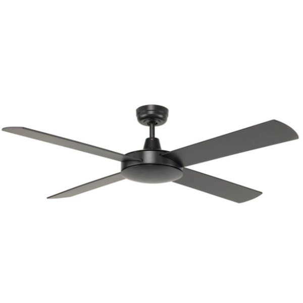 A reliable, contemporary styled ceiling fan with four quiet plywood blades combined with a powerful 50W motor. Diecast aluminium body and canopy construction, with 4 painted plywood blades 3 speed wall control with switch included.