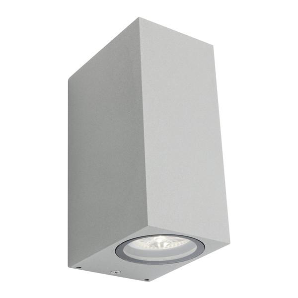 Modern rectangular 2 Light Exterior Up/Down Wall Light with clear glass lens.