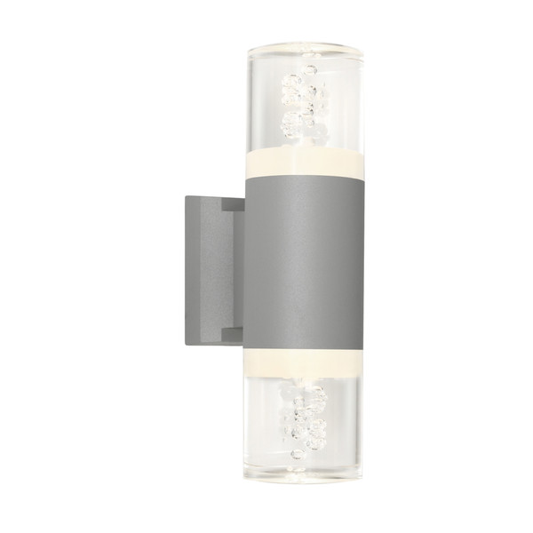 Modern 2 Light LED Exterior Up/Down with Decorative Bubbles in Acrylic Lens. Includes 2 x 3W LED lights with IP54 outdoor rating.
