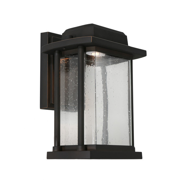 Traditional yet Modern LED Exterior Lantern Style Wall Light. Perfect for the Front Entrance to your Home. Featuring Bronze finish and Clear Stippled Glass.
