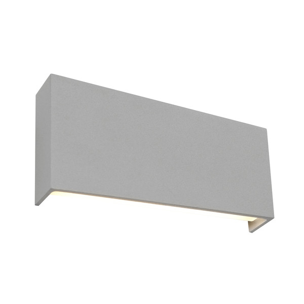Modern 2 Light Exterior LED Up/Down Wall Light with Different Heights on each side and Sloping Edge Bottom. Features Perfect Silver Powder Coated Aluminium Finish with Opal Diffuser.