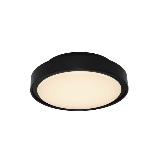 Modern Round Black 13W LED Exterior Bunker. Includes Acrylic Lens and Black Aluminium Finish. Suitable for Coastal Areas Exposed to the Elements.