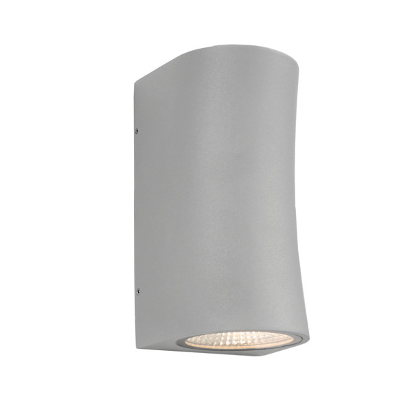 Modern Power Coated 2 Light LED Exterior Up/Down Wall Light. Silver Finish with Clear Glass Lens. Perfect for Entranceways and Exterior Walls.