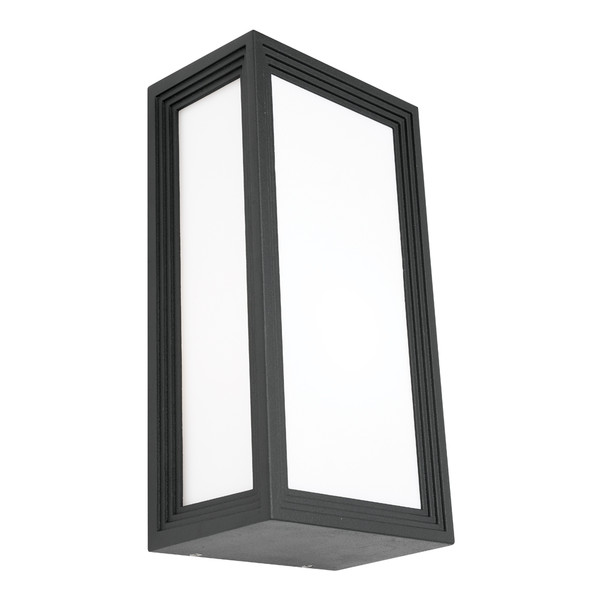 Classy Modern Exterior Wall Light with Opal Acrylic Lens and Charcoal Finish. Coastal Rated with IP54 Construction.