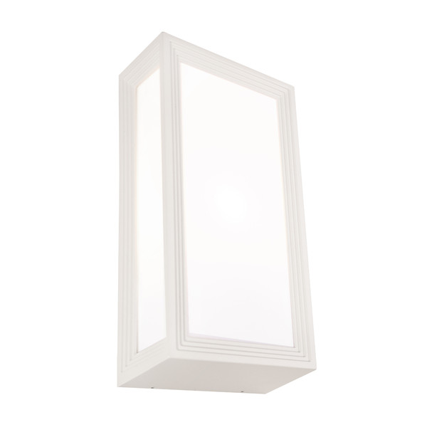 Classy Modern Exterior Wall Light with Opal Acrylic Lens and White Finish. Coastal Rated with IP54 Construction.