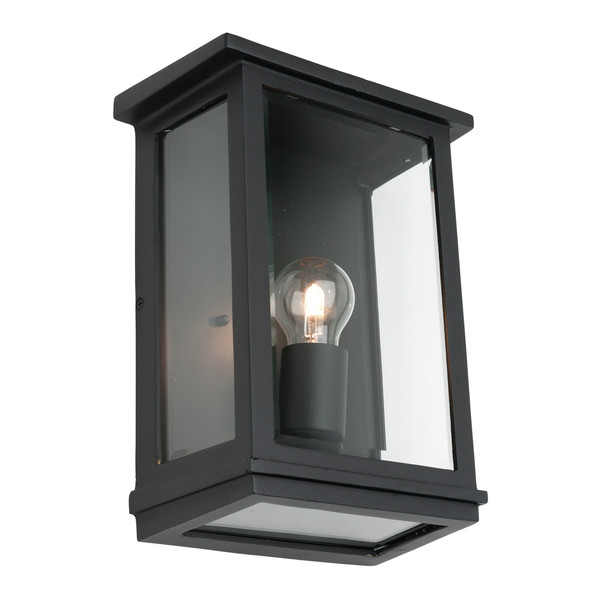 Large Classic Rectangular Shaped Exterior Wall Light with Perfect Black Finish and Clear Bevelled Glass.