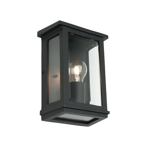 Small Classic Rectangular Shaped Exterior Wall Light with Perfect Black Finish and Clear Bevelled Glass.