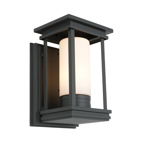 Traditional yet Modern Exterior Wall Light with Black Finish and Matt Opal Glass. Compatible with LED Globes.