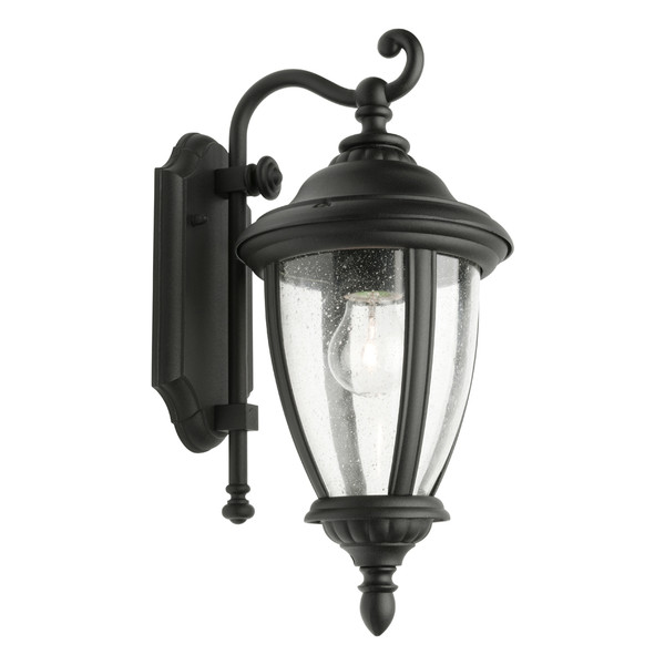 Oxford Tradititonal Coach Lantern Style Exterior Wall Light. One Piece Clear Strippled Glass and Stunning Black Finish. Perfeect for Entranceways, Patios and Covered Exterior Walls.