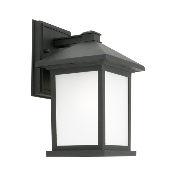 Classic yet Modern Lantern Style Exterior Wall Light. Square Boxed Appearance with Frosted Glass Panels and Black Aluminium Base.