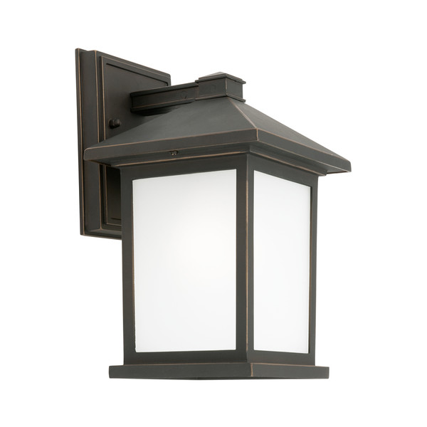 Classic yet Modern Lantern Style Exterior Wall Light. Square Boxed Appearance with Frosted Glass Panels and Bronze Aluminium Base.