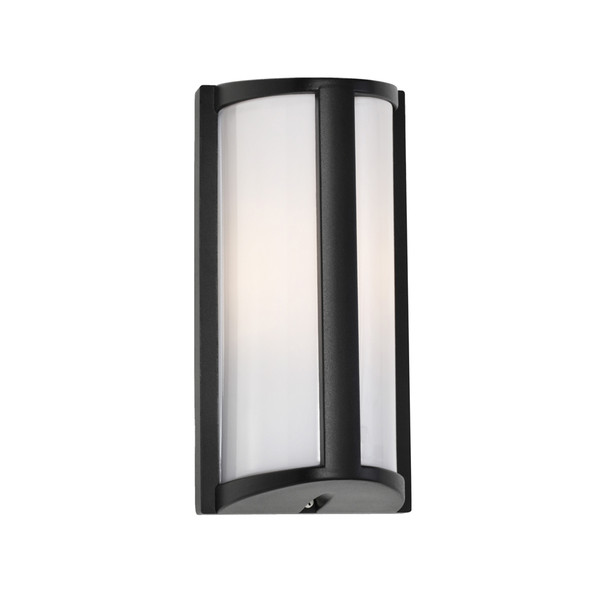 Regina Exterior Wall Light with Black Aluminiun Base and Opal Acrylic Diffuser. Simple yet Attractive Design with IP44 Indoor/Outdoor Under Cover Area Rating.