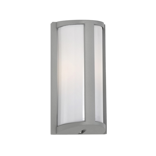 Regina Exterior Wall Light with Silver Aluminiun Base and Opal Acrylic Diffuser. Simple yet Attractive Design with IP44 Indoor/Outdoor Under Cover Area Rating.