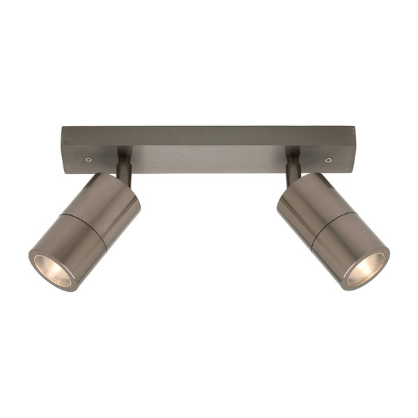 Part of the Stockholm Range, this 2 Light Exterior Wall Spot Rail is Perfect for Entranceways and Undercover Outdoor Walls. Features Adjustable Head and Clear Circular Lens.