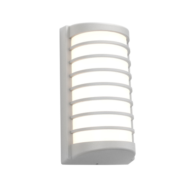 Tacoma LED Exterior Wall Light with Opal Acrylic Lens and Silver Finish. Includes 10W LED with IP54 Direct Outdoor Weather Exposure Rating.