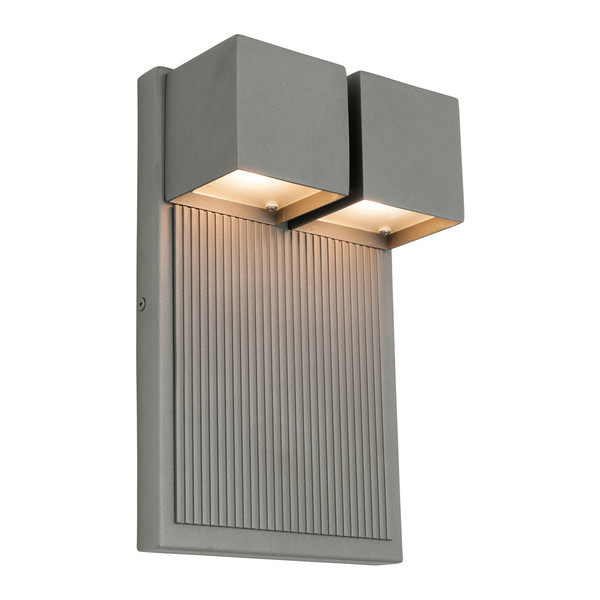 Tucson is a Unique Exterior Wall Light in a Pewter Finish with Frosted Glass Diffuser. Includes 2 x 6W Integrated LEDs with Downwards Reflection.