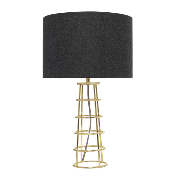 Beatrice is a Brass Plated Table Lamp with Black Felt Shade and Grey Cloth Cable.