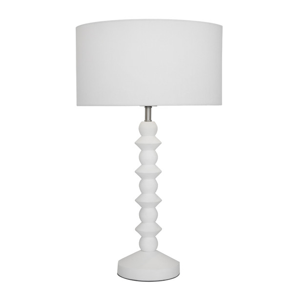 Smart, Modern Matt White Carved Table Lamp with White Linen Shade. White Cable and Inline Switch.