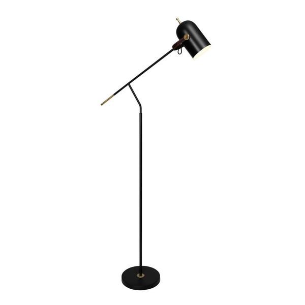 Jacob 1 Light Floor Lamp Black/Satin Brass with Black Shade