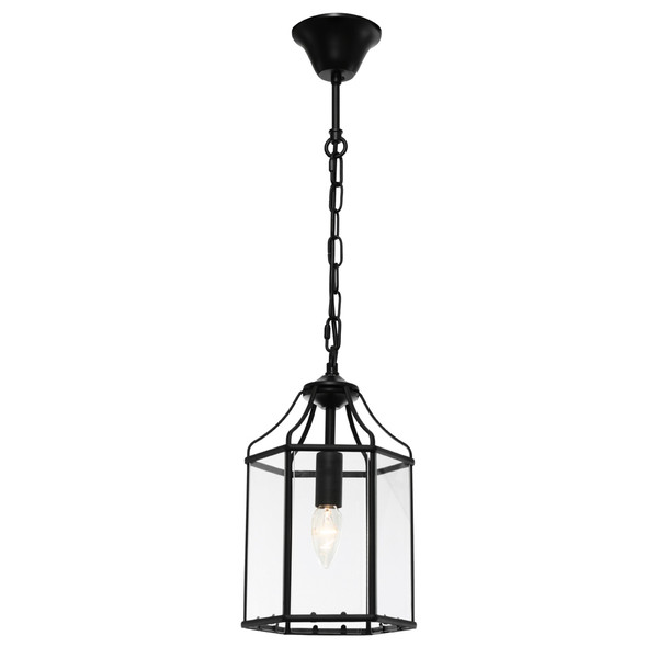 Arcadia is a Contemporary, Elegant and Classically Designed 1 Light Pendant Featuring Hexagonal Shape, Black Metalware and Bevelled Glass Panels. Looks great with Decorative Filament Globe.