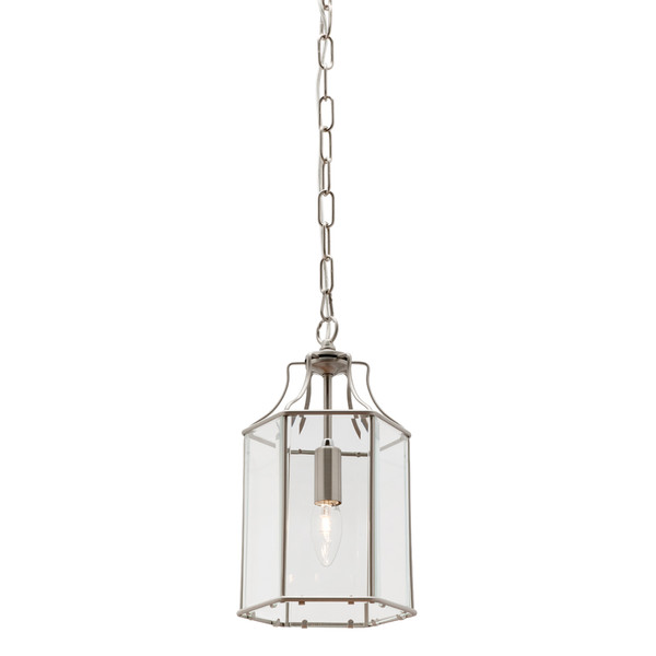 Arcadia is a Contemporary, Elegant and Classically Designed 1 Light Pendant Featuring Hexagonal Shape, Satin Chrome Metalware and Bevelled Glass Panels. Looks great with Decorative Filament Globe.