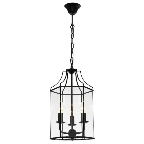Arcadia is a Contemporary, Elegant and Classically Designed 3 Light Pendant Featuring Hexagonal Shape, Black Metalware and Bevelled Glass Panels. Looks great with Decorative Filament Globe.
