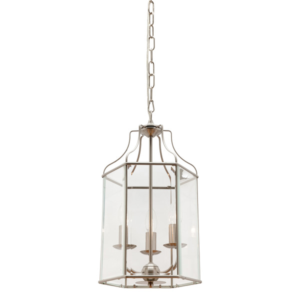 Arcadia is a Contemporary, Elegant and Classically Designed 3 Light Pendant Featuring Hexagonal Shape, Satin Chrome Metalware and Bevelled Glass Panels. Looks great with Decorative Filament Globe.