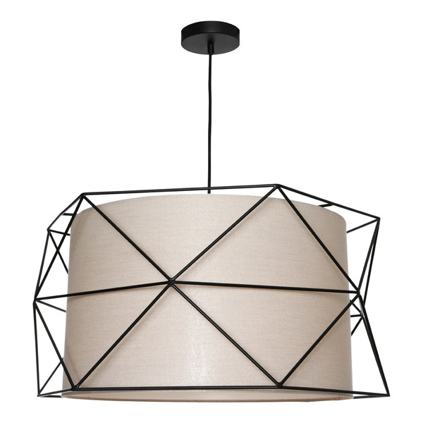 3 Light Black Wire Frame with Fawn Material Shade. Includes Black Adjustable 2 Metre Cable Drop & Black Canopy.