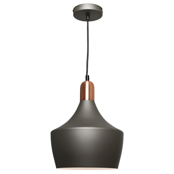 Ultra Modern Sleek Pendant Suitable for Kitchen and Dining Areas. Stunning Charcoal Finish with Brushed Copper Highlights and Adjustable Black Cable and Canopy.