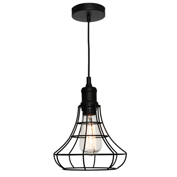 The Cage Pendant is both Modern and Industrial. Featuring a Black Cage Suspended from a Black Cable, this Pendant will add Character to Any Room. Also Available in Medium and Large Sizes.