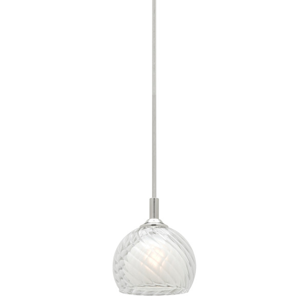 Circo is a 12V 1 Light Rod Pendant in Satin Chrome with Clear/Frosted Glass.