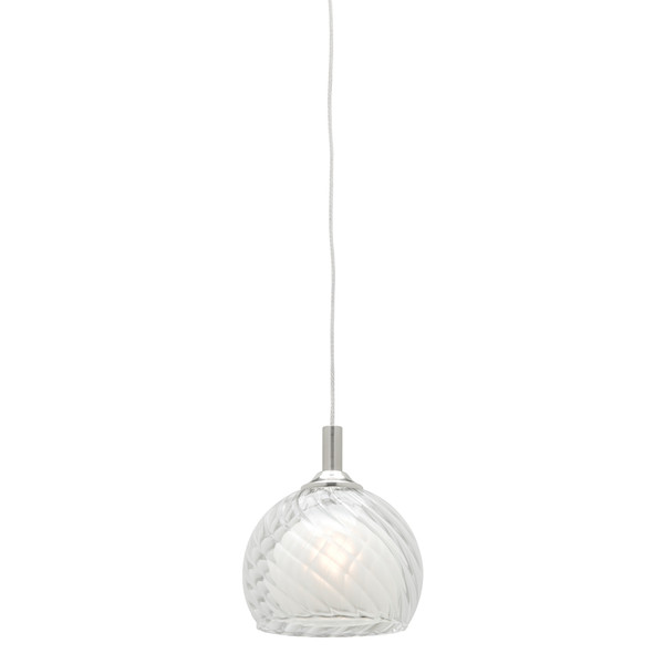 Circo is a 12V 1 Light Cable Pendant in Satin Chrome with Clear/Frosted Glass. Includes 2 Metre Cable and Canopy.