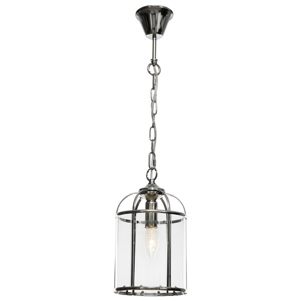 Clovelly is a Traditional, Elegant and Classically Designed 1 Light Pendant Featuring Cage Shape, Chrome Metalware and Curved Glass Panels. Looks great with Decorative Filament Globe.