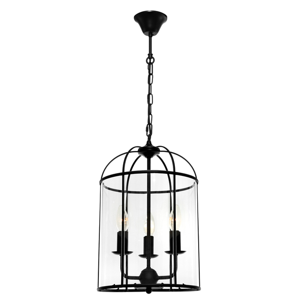 Clovelly is a Traditional, Elegant and Classically Designed 3 Light Pendant Featuring Cage Shape, Black Metalware and Curved Glass Panels. Looks great with Decorative Filament Globe.