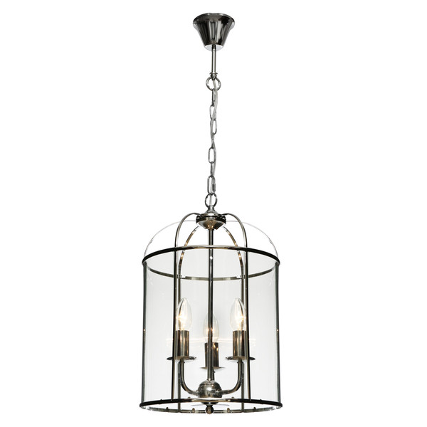 Clovelly is a Traditional, Elegant and Classically Designed 3 Light Pendant Featuring Cage Shape, Chrome Metalware and Curved Glass Panels. Looks great with Decorative Filament Globe.