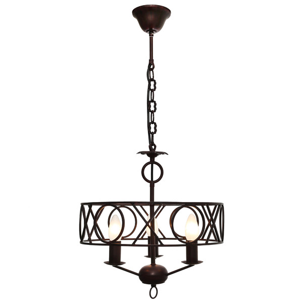 Medievil Style Chandelier Pendant with Rustic Wrought Iron Look and Finish. Ideal for Over Dining Room Table. Includes Adjustable Chain/Cord.