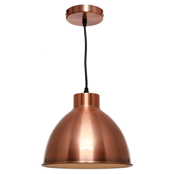 Single Modern/Industrial Copper Pendant with Metal Shade and Black Cable. Perfect for Dining Area, Kitchen or Living Areas. Available in 3 Stunning Colour Options.