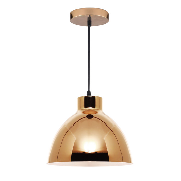 Single Modern/Industrial Gold Pendant with Metal Shade and Black Cable. Perfect for Dining Area, Kitchen or Living Areas. Available in 3 Stunning Colour Options.
