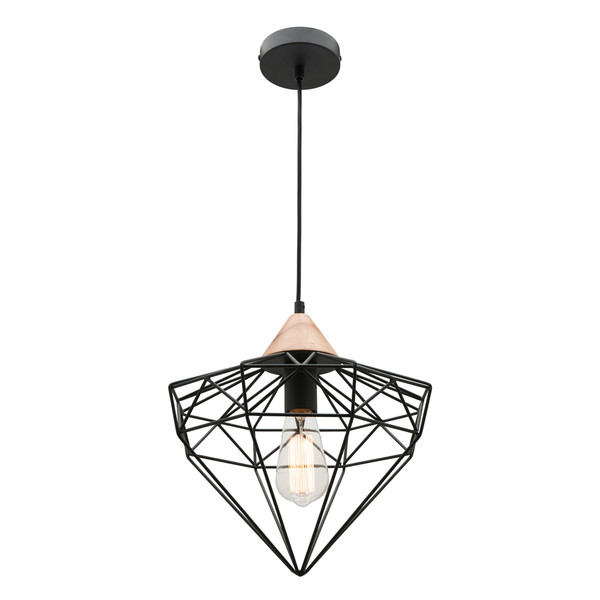 Glint is a Diamond Shaped Wire Cage Pendant with Baltic Wooden Cap. Industrial Design, Perfect for Kitchens, Dining and Living Areas.