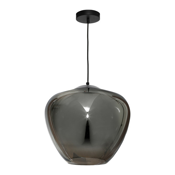 Attractive Traditional 1 Light Smoke Mirror Glass Pendant. Features Black Metal Canopy & Black Cloth Cord Cable.