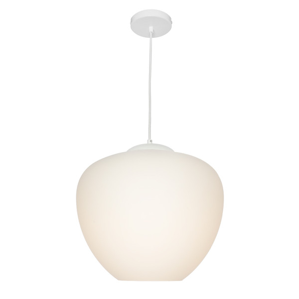 Attractive Traditional 1 Light White Glass Pendant. Features Black Metal Canopy & Black Cloth Cord Cable.
