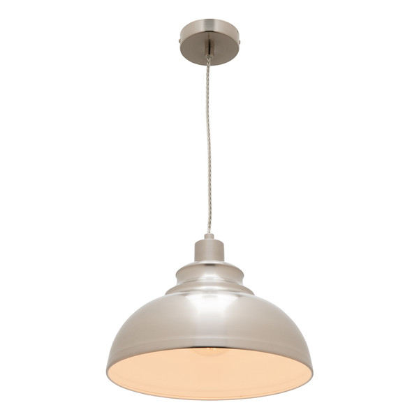 Risto is an Industrial Look Satin Chrome Metal Pendant with Clear Twisted Cable. Perfect to Add an Industrial Touch to Kitchen and Living Areas.