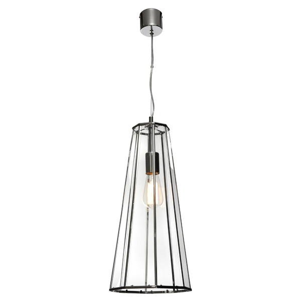 Zara is a Modern and Sleek Looking Clear Glass Pendant with Chrome Frame and Canopy. Featuring 8 Glass Panels in a Stylish Lantern Shape with Clear Adjustable Cord. This Gorgeous Pendant will Look Amazing in Any Room in the Home!