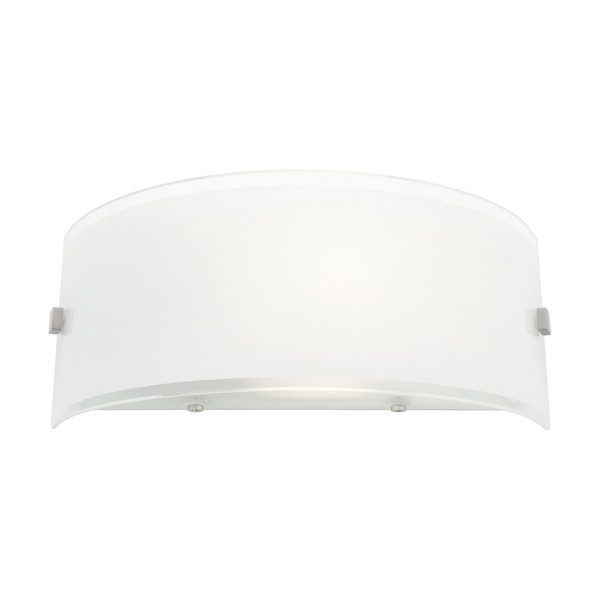 Curved  1 Light Wall Light with Painted White Glass and Clear Trim Top & Bottom. A Modern Contemporary Fitting Perfect for Hallways, Bedrooms and Living Areas.