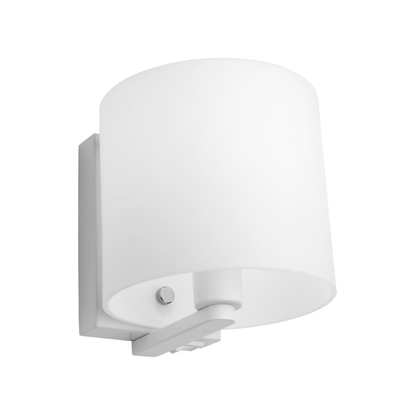Tida is a Modern and Trendy Wall Light with White Back Plate and Arm, Matt Opal Glass and Chrome Highlights. Rocker Switch in Bottom of Backplate.