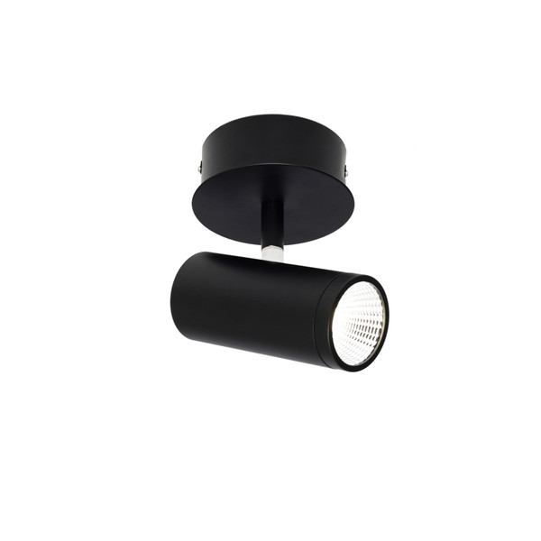 Smart and Modern 1 Light Spot with Classy Black Finish, Adjustable Knuckle and 45 Degree Beam Angle. Includes 1 x 5W LED COB.