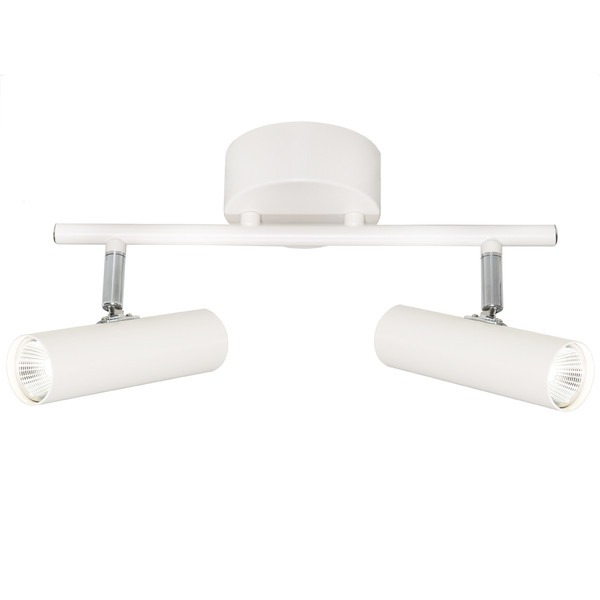 Slim Line Circular 2 Light Spot with White Finish and Chrome Highlights. Includes 2 x 5W Integrated Dimmable LED COB.