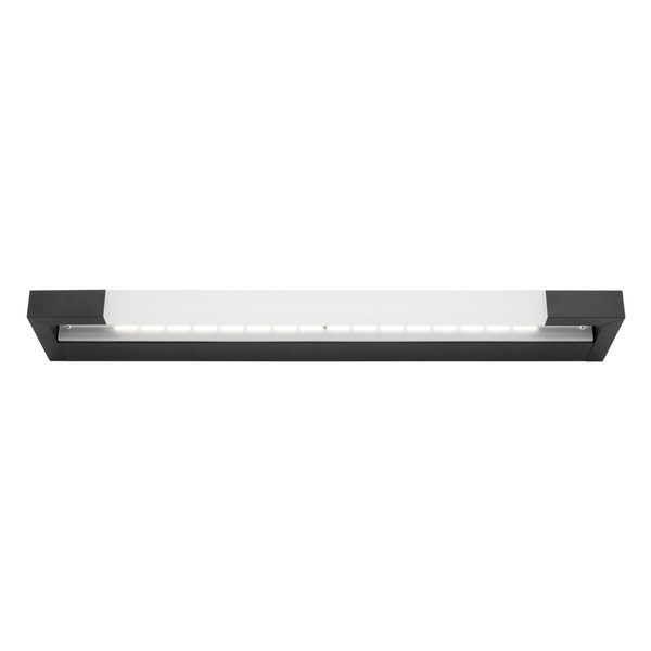 Lynx is a Smooth Modern LED Vanity Wall Light with Black Finish and Frosted Acrylic Lens. Includes 16W Dimmable LED. Perfect for Bathrooms and Vanity Area with Bright Light Output and Stylish Finish.