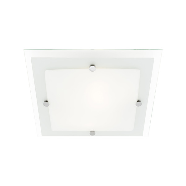 Esses is a 2 Light Square Oyster that Sits Flush to the Ceiling. Set of 3 Glasses Complete the Fitting with Opal, Frosted and Clear Overlaid with Chrome Fasteners.