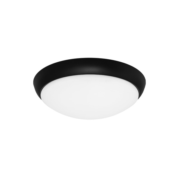 Lancer is a Clean Crisp Dome Shaped LED Oyster with Black Finish and Gloss Opal Acrylic Lens. Suitable for Both Indoors in Wet Areas like Bathrooms as well as Outdoors in Covered Areas. Includes 16W Dimmable SMD LED Panel with High Light Output.